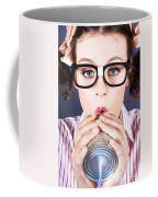 Big Business Kid Making Phone Call With Tin Cans Coffee Mug