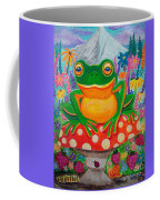 Big Green Frog On Red Mushroom Coffee Mug