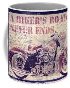 Biker's Road Never Ends Coffee Mug