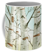 Birch Trees In Late Autumn Coffee Mug