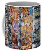 Birch Trees Oil Painting With Palette Knife  Coffee Mug