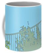 Bird On Fence Aqua II Coffee Mug