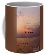 Birds Flying And Floating At Sunrise Coffee Mug