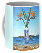 Birds Over Paradise Flowers Coffee Mug