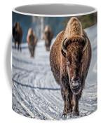 Bison In The Road - Yellowstone Coffee Mug