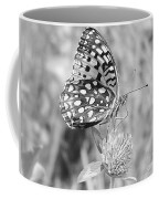 Black And White Butterfly On Clover Coffee Mug