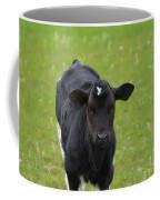 Black And White Calf Standing In A Field Coffee Mug