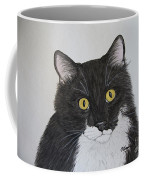 Black And White Cat Coffee Mug by Megan Cohen