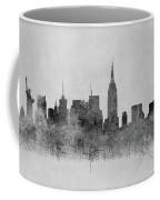 Black And White New York Skylines Splashes And Reflections Coffee Mug
