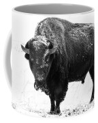 Black And White Of A Massive Bison Bull In The Snow  Coffee Mug