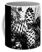 Black And White Pine Cone Coffee Mug