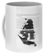 Black And White Pirate Ship Against The Sea And Crushing Waves. Double Exposure Coffee Mug