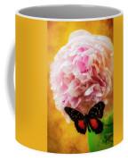 Black Butterfly On Peony Coffee Mug