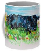 Black Cow Lying Down Painting Coffee Mug