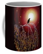 Black Crow On White Birch Branches Coffee Mug