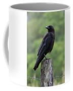 Black Crow Pearched On A Post Coffee Mug