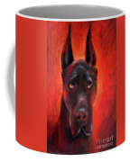 Black Great Dane Dog Painting Coffee Mug