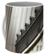Black Ornate Trim On Marble White Building Coffee Mug