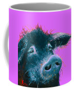 Black Pig Painting On Purple Coffee Mug