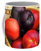 Black Plums And Nectarines In A Wooden Bowl Coffee Mug