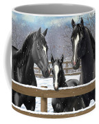 Black Quarter Horses In Snow Coffee Mug