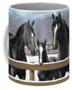 Black Quarter Horses In Snow Coffee Mug by Crista Forest
