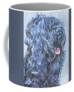 Black Russian Terrier In Snow Coffee Mug