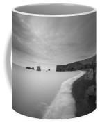 Black Sand Beach Bw Coffee Mug