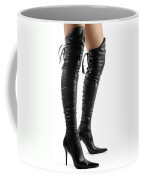 Black Sexy Thigh High Stiletto Boots Coffee Mug