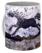 Black Stallion Gallops Over Stones Coffee Mug