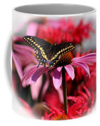 Black Swallowtail Butterfly With Coneflower And Monarda Coffee Mug