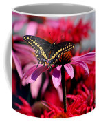 Black Swallowtail Butterfly With Coneflowers And Bee Balm Coffee Mug