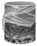 Black White Chem Trails Sky Overton Nevada  Coffee Mug