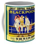 Blackpool, England - Retro Travel Advertising Poster - Three Fashionable Women - Vintage Poster -  Coffee Mug