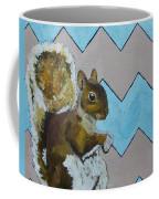 Blue And Beige Chevron Squirrel Coffee Mug