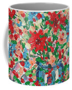 Blue And Red Flowers. Coffee Mug