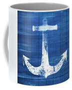 Blue And White Anchor- Art By Linda Woods Coffee Mug by Linda Woods