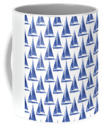 Blue And White Sailboats Pattern- Art By Linda Woods Coffee Mug