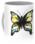 Blue And Yellow Watercolor Butterfly Coffee Mug