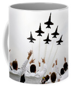 Blue Angels Fly Over The Usna Graduation Ceremony Coffee Mug
