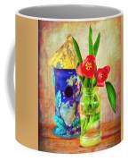 Blue Birdhouse And Red Tulips 2 Coffee Mug