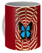 Blue Black Butterfly In Basket Coffee Mug