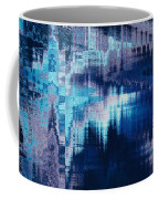 blue blurred abstract background texture with horizontal stripes. glitches, distortion on the screen broadcast digital TV satellite channels Coffee Mug