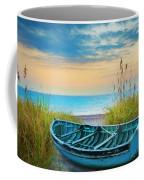 Blue Boat At Dawn Watercolors Painting Coffee Mug