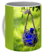 Small Blue Bottle Garden Art Coffee Mug