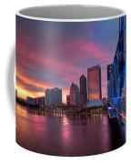Blue Bridge Red Sky Jacksonville Skyline Coffee Mug by Debra and Dave Vanderlaan
