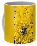 Blue Bug On Yellow Mum Coffee Mug