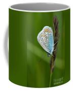 Blue Butterfly On Grass Coffee Mug