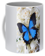 Blue Butterfly On White Roses Coffee Mug