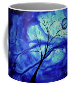 Blue Depth Abstract Original Acrylic Landscape Moon Painting By Megan Duncanson Coffee Mug